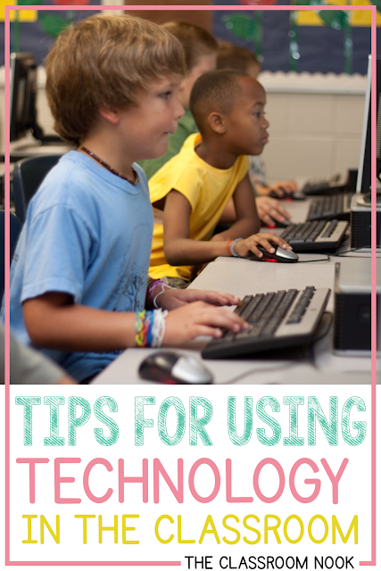 Check out these tips and best practices for using technology in the upper elementary classroom!  Grab a free technology management starter kit to help you get started! #classroomtechnology #upperelementary #thirdgrade #fourthgrade #fifthgrade