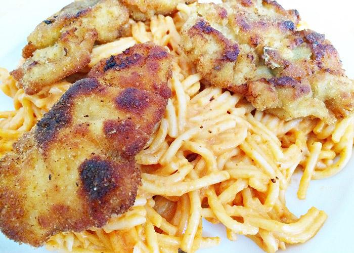 Piccata Milanese mit Spaghetti