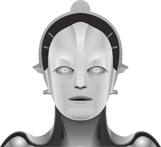 "A bust of the robot, Maria, from the film ""Metropolis""."