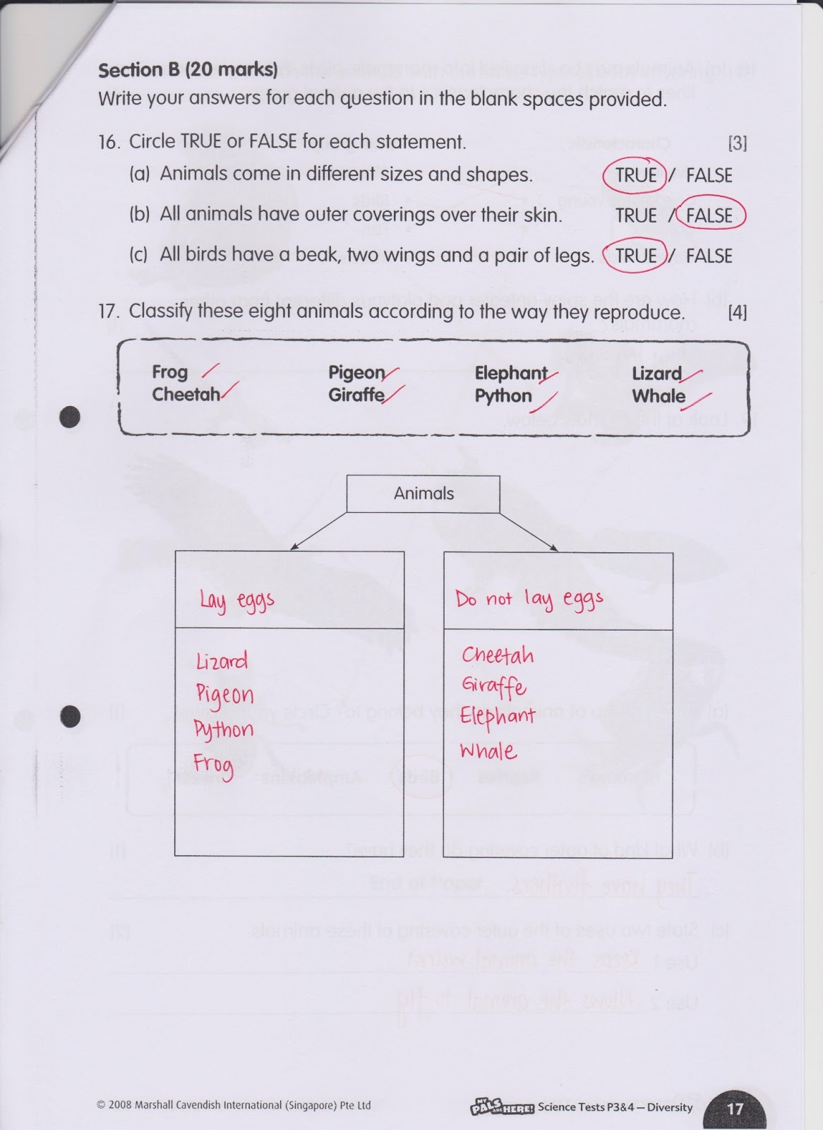 Answers To Science Test 2 Worksheet