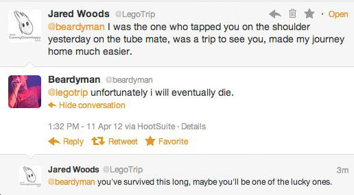 me and my homeboy Beardyman conversing on Twitter