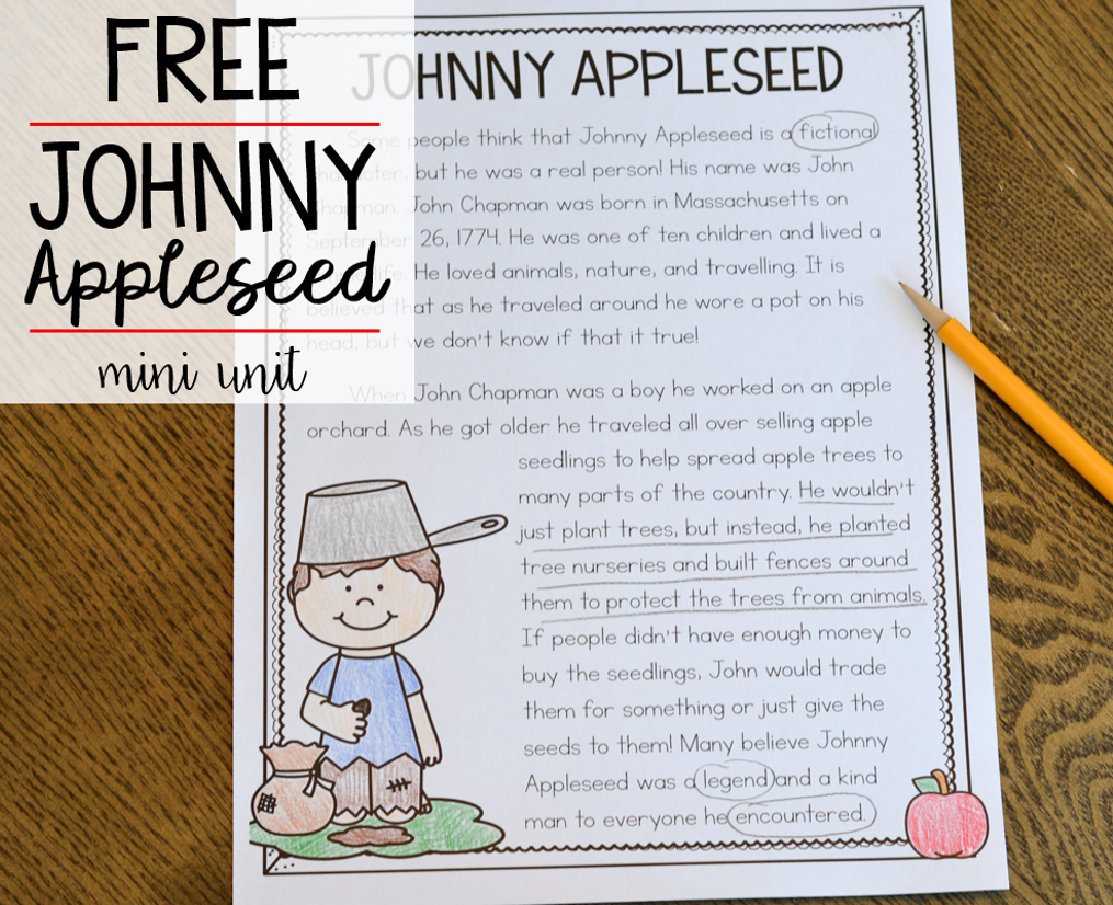 graphic about Johnny Appleseed Printable Story referred to as No cost Johnny Appleseed Machine