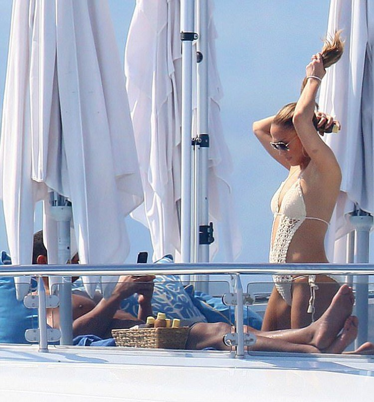 Jennifer Lopez in bikini with Beau Alex in France