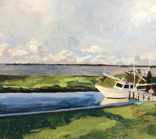 painting of shrimp boat. The view from The Nest B&B in Palacios, Texas. This is the site of the art retreat by David Borden
