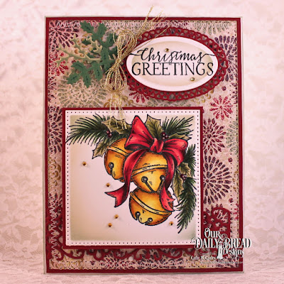 Our Daily Bread Designs Stamp Set: Jingle Bell Time, Our Daily Bread Designs Paper Collection: Christmas 2015, Our Daily Bread Designs Custom Dies: Pierced Squares,, Pierced Rectangles,, Layered Lacey Ovals,, Ovals, Lovely Leaves,, Flower Lattice