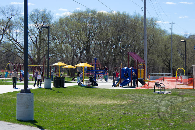 the new water playground showing hydro poles located on Moose Beach in Tudhope Park, Orillia - May 2011