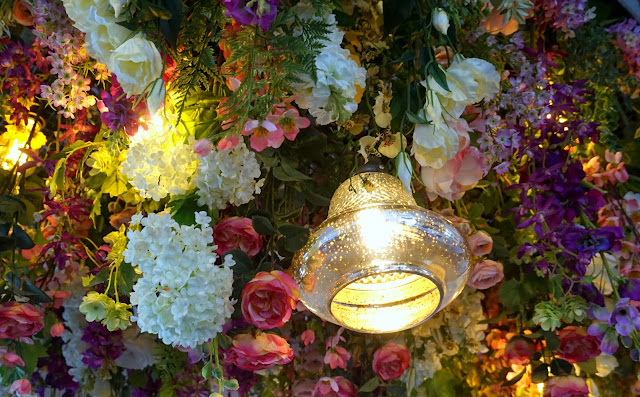 ceiling floral display - the florist