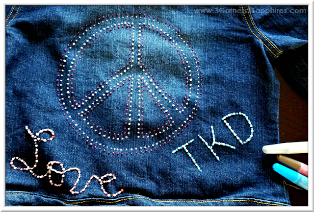 """Peace, Love, TKD"" Glitter Fabric Paint on denim  