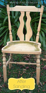 Thrift Store Chair Makeover - Green Chair After Sanding