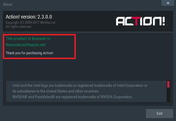 Mirillis Action 2.3.0 Serial Key