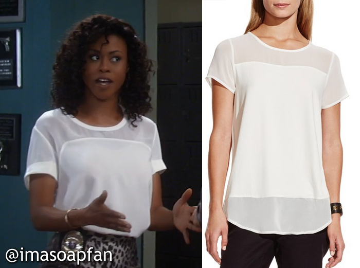 Jordan Ashford's Ivory Top with Sheer Panels - General Hospital, Season 54, Episode 08/19/16