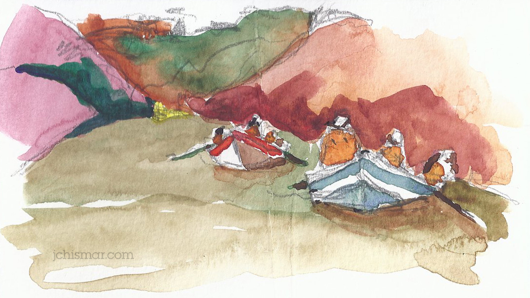 o.a.r.s. grand canyon dories watercolor sketches