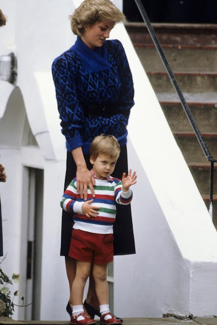 Prince William with his mother, Princess Diana, on his first day of school in 1985.