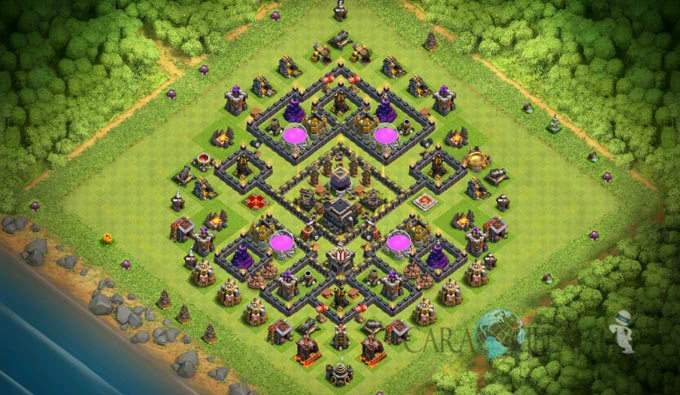 Base Trophy TH 9 COC Update Bomb Tower Terbaru 2017 Tipe 2