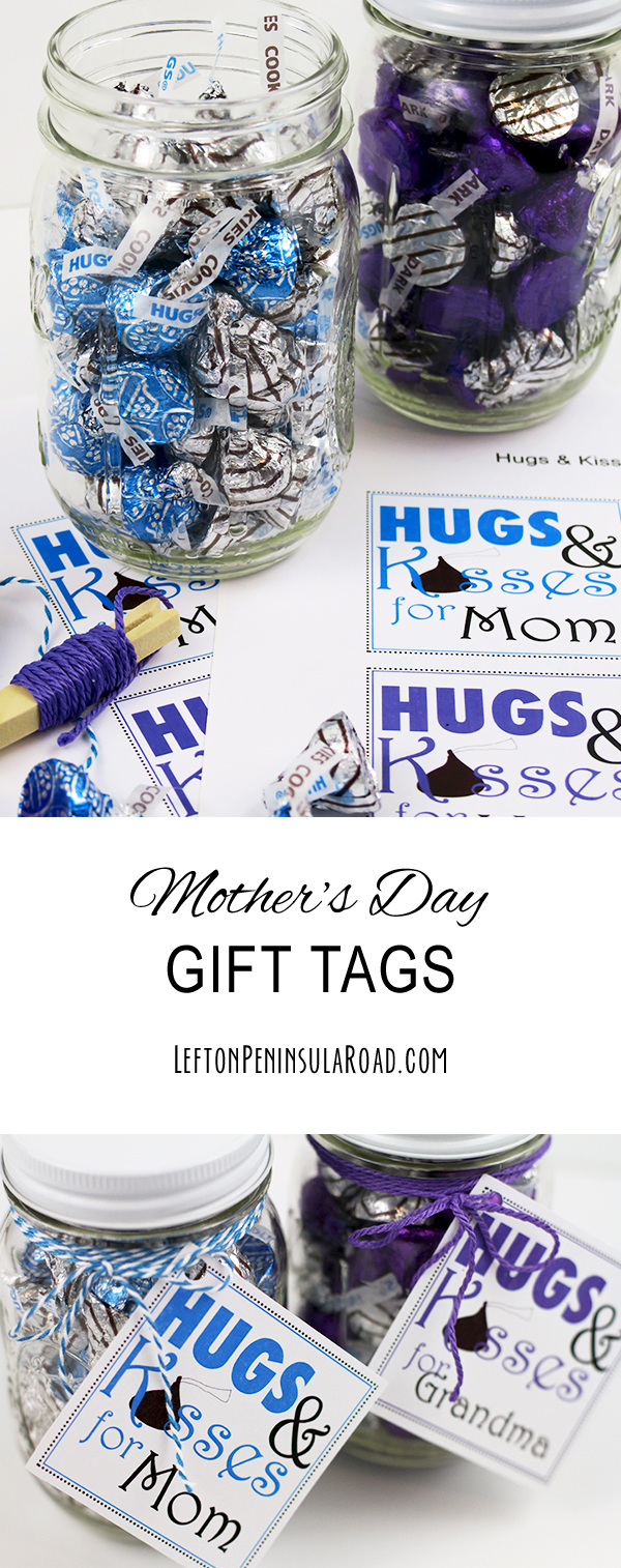 Add printable Mother's Day gift tags to candy-filled jars.