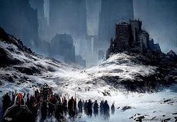 fantasy scene dreamy town ice mountain background