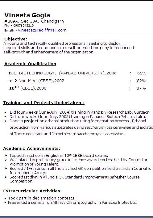 diploma resume format free download