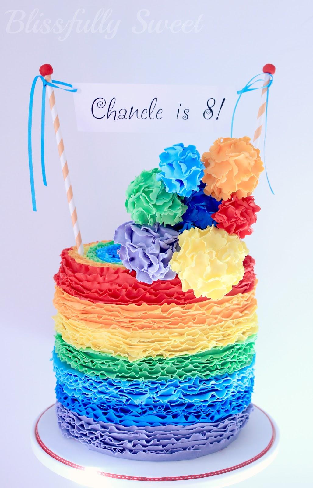Blissfully Sweet: A Rainbow Rufflicious Birthday Cake