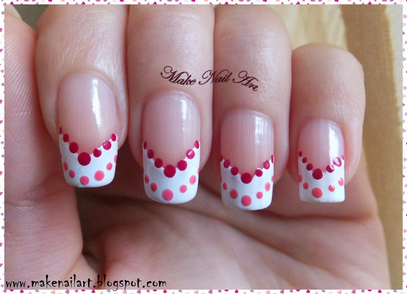 Make Nail Art: Very Easy St Valentine\'s Day Manicure With Dots Nail ...
