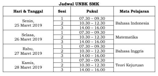 B. Jadwal UNBK SMK Tahun 2019