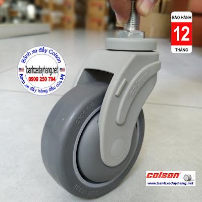 Bánh xe cọc vít càng nhựa phi 100 - 4 inch Colson Mỹ | STO-4854-448 www.banhxeday.xyz
