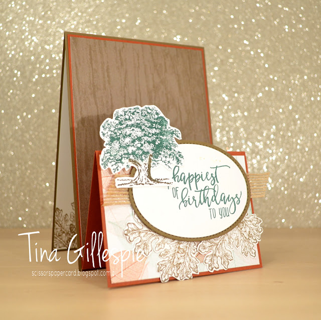 scissorspapercard, Stampin' Up!, Lovely As A Tree, Picture Perfect Birthday, Nature's Poem DSP, Stitched Shapes, Ovals Collection, Fancy Fold