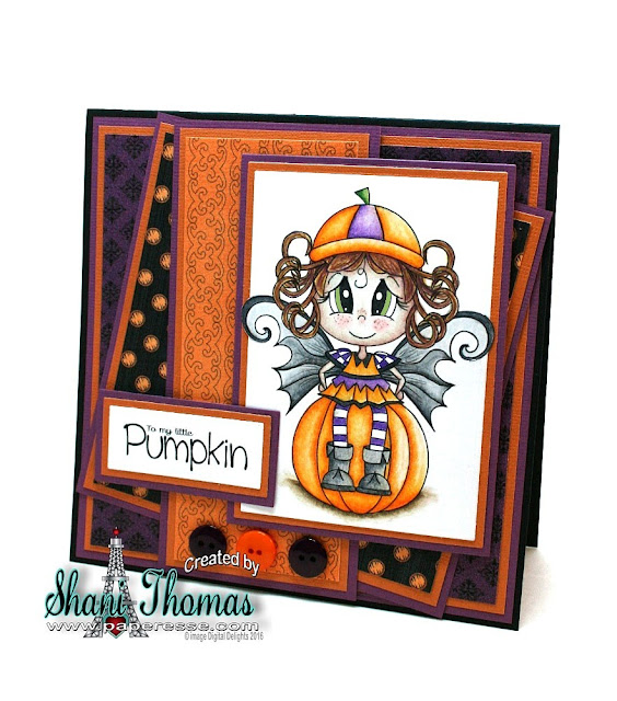 Digital Delights Pumpkin Peggy digital stamp Halloween card by Paperesse.