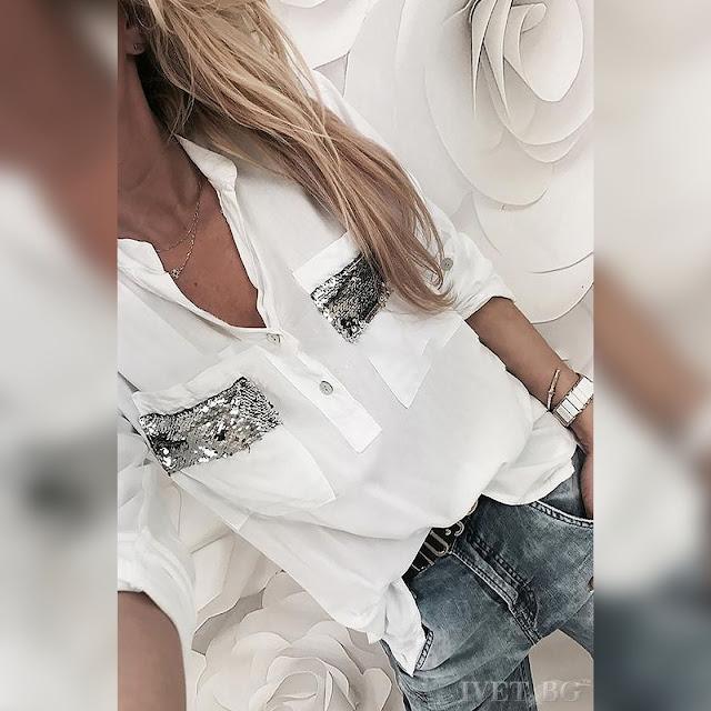 Γυναικείο άσπρο  πουκάμισο ODILIA