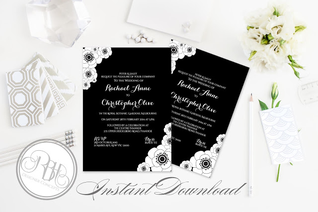 black and white anemone invitation by rbh designer concepts