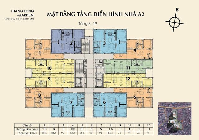 Mặt bằng tòa A2 chung cư 250 Minh Khai Thăng Long Garden