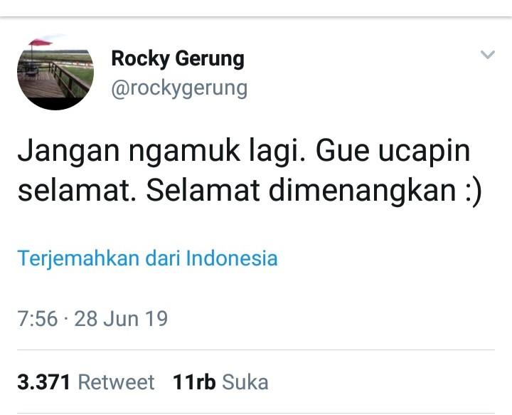 Ucapan Selamat Rocky Gerung Kepada Jokowi