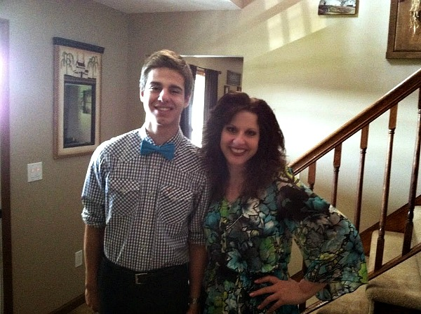 My son and me on Mother's Day getting ready to enjoy the Oreo Pudding Dessert from Walking on Sunshine Recipes.
