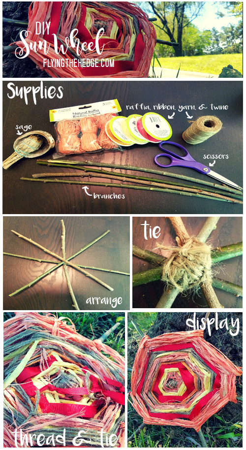 DIY Summer Solstice Sun Wheel: See the complete directions on flyingthehedge.com