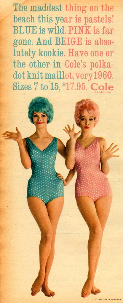 7a18feb016 1960 Cole of California Pink Polka Dot Swimsuit