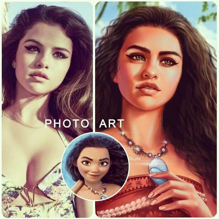 08-Selena-Gomez-As-Moana-Helen-Morgun-Celebrities-and-Disney-www-designstack-co