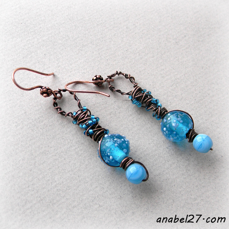 Медные серьги - 239-241 - copper earrings wire wrapping