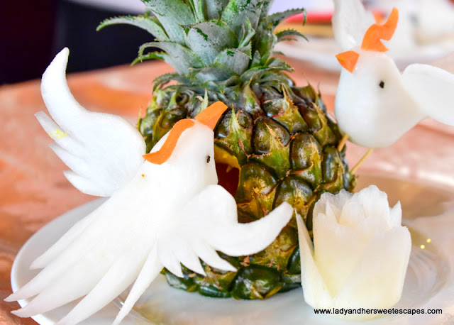 food sculpture on-board V'Spirit Classic cruise