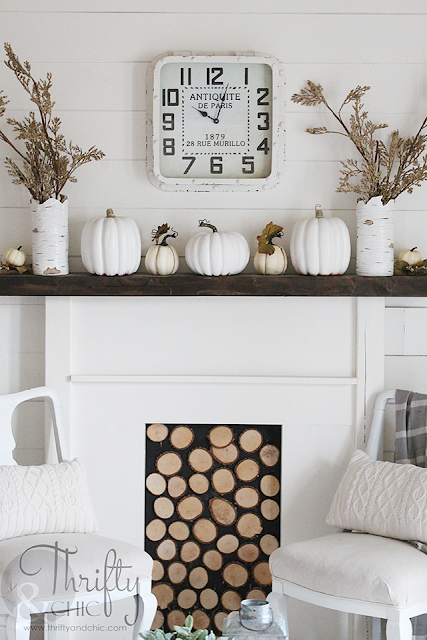 Farmhouse decor and decorating ideas for living room. Fall decor and decorating ideas. Neutral and white fall mantel decor. White living room. DIY shiplap