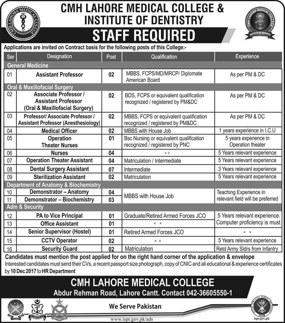 Jobs In CMH Lahore Medical College And Institute Of Dentistry Nov 2017