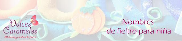 nombres de fieltro para niñas dulces caramelos