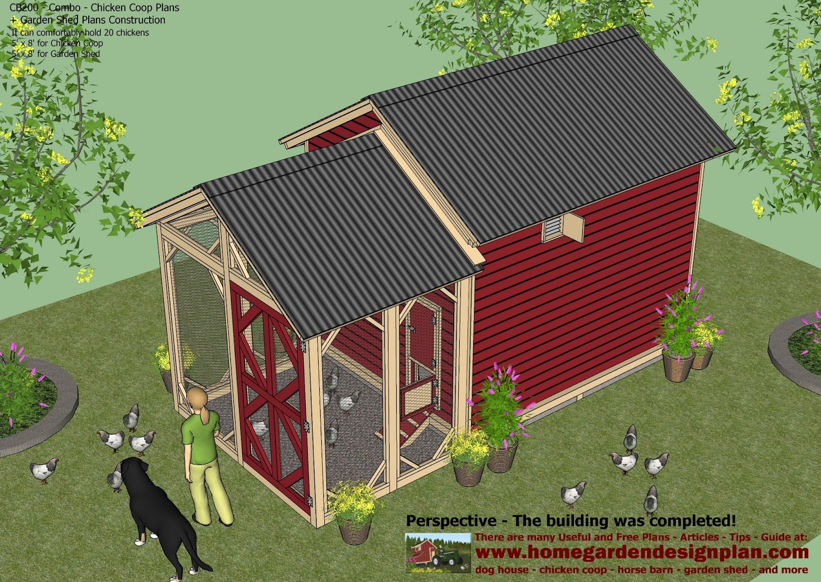 Home garden plans cb200 combo plans chicken coop for Garden shed designs 5