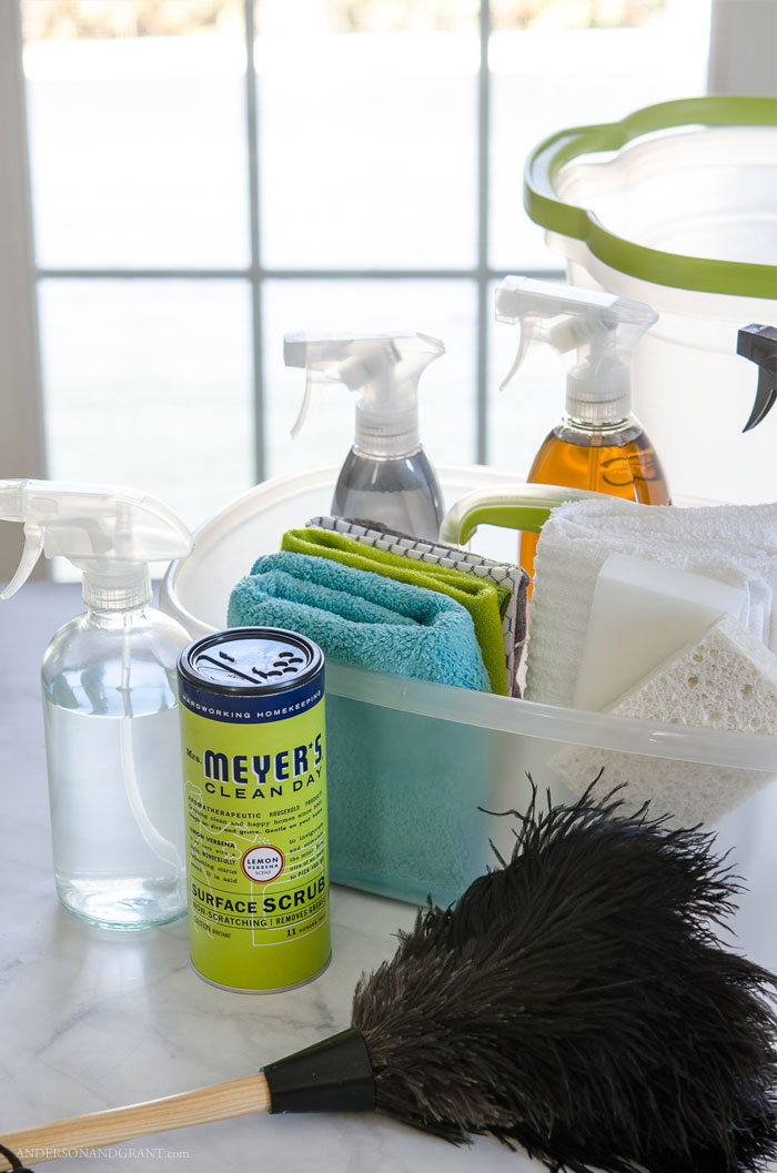 Find out what essentials you should include in a well stocked cleaning caddy to make weekly home maintenance quick, easy, and painless.  #cleaning #essentials #supplies #organization |  www.andersonandgrant.com