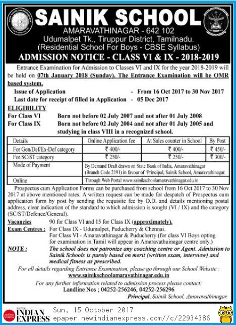 Tamil Nadu Udumalaiper Sainik School Admission Notification 15.10.2017