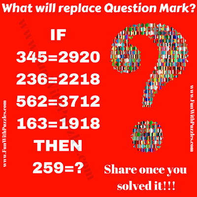 This is tough mind blowing Mathematical question for teens. In this Maths Question, your challenge is find the value of missing number which will replace the question mark in the given puzzle picture.