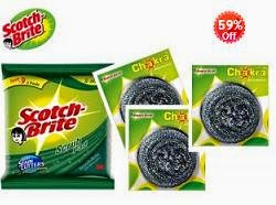 Jaw Dropping Deal: Scotch Brite Combo- 3pc Set Green Pad & 3pc Steel Chakra worth Rs.120 for Rs.83 Only