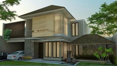 Tampak Depan Rumah Minimalis 2 Lantai sederhana