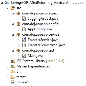 Spring AOP AspectJ @AfterReturning Annotation Advice Example
