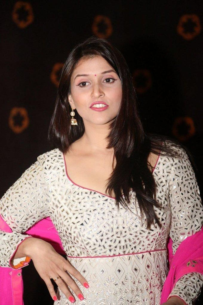 Mannara Chopra In White Dress At Audio Release Function
