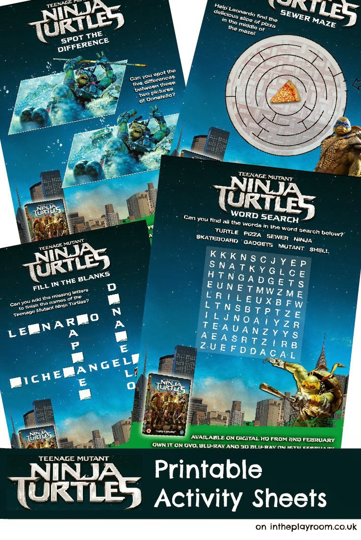 Free Teenage Mutant Ninja Turtles Printable Activity Sheets