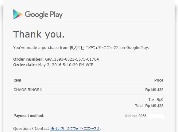 Bukti Pembayaran Game Chaos Ring II Square Enix